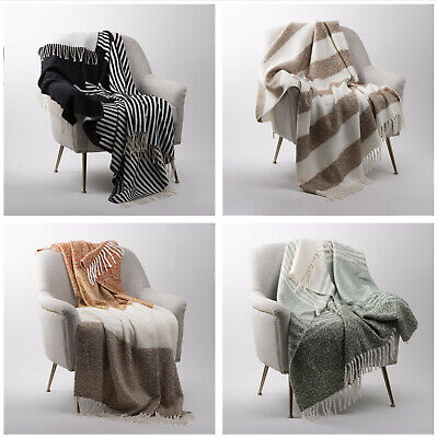 Glitzhome 60x50'' Woven Jacquard Throw Blanket Warm Comfort Couch Sofa Cover New Acrylic Jacquard Blanket