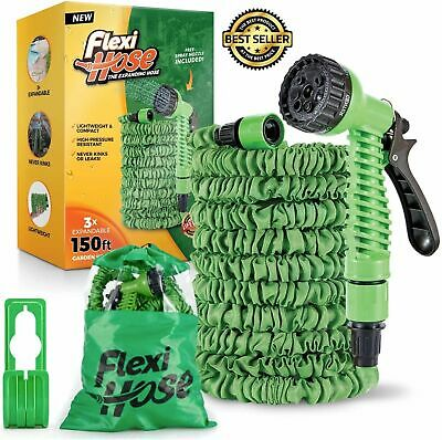 Flexi Hose 150 Foot Expandable Garden Hose With 7 Function Spray Nozzle Durable