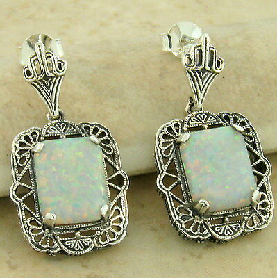 ANTIQUE STYLE 925 STERLING SILVER LAB OPAL FILIGREE EARRINGS,               #947