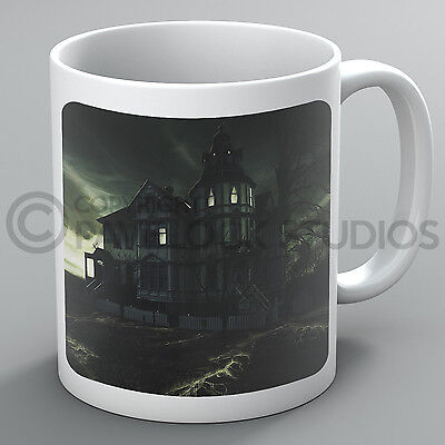 d House Ghosts Forest Pumpkins Moon Bats Coffee Gift (Halloween Haunted Forest)