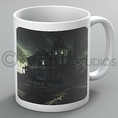 Halloween Mug Haunted House Ghosts Forest Pumpkins Moon Bats Coffee Gift ()