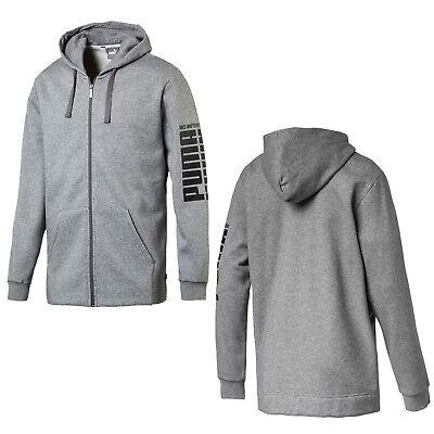 Puma Rebel Block Full Zip Fleece Hoodie Sweat Jumper Grey 853388 03 P1C Block Zip Hoodie