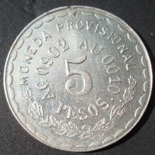 "Mexico RARE $5 Pesos Silver AND GOLD""TM""Revolutionary Oaxaca see the coin 1915"