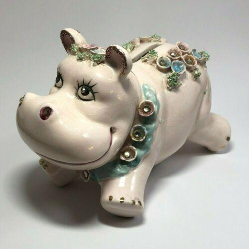 "Vintage 1950s Ceramic 4x6"" HIPPO Piggy Bank Essay #739 Figure Rhinestones Japan"