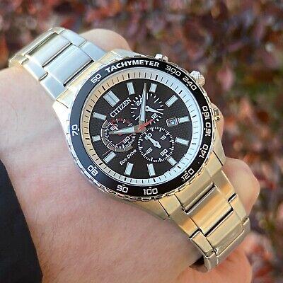 Citizen Eco-Drive Men's AT2380-51E Chronograph Watch   Silver Steel Black Dial