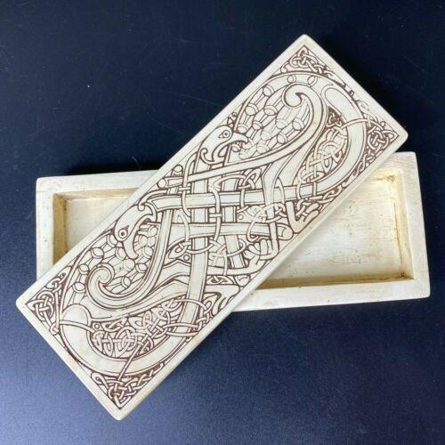 Vintage Faux Scrimshaw Trinket Box Celtic Knot Birds Bird Siddal Galway Ireland