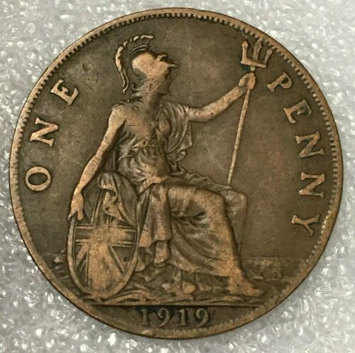 1919 H UNITED KINGDOM  🇬🇧1 ONE PENNY Coin, GEORGE V, Bronze.