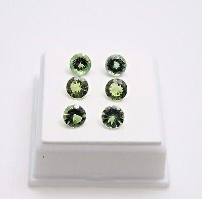 Set of 6 Green Apatite - 5.0 TCW - 6mm - Round - 6 Apatite Loose Gemstones