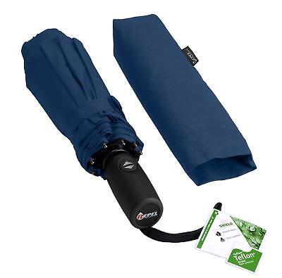 Paraguas de viaje a prueba de viento con recubrimiento de teflón (azul...