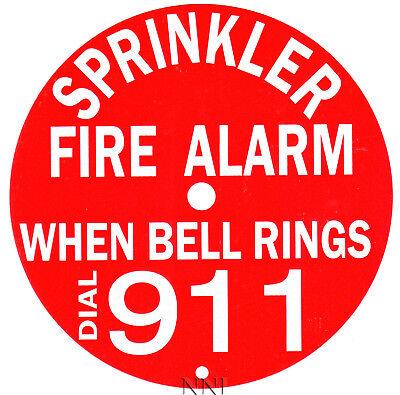 6 Round Sprinkler Fire Alarm Bell Sign Dial 911 - Reflective Aluminum