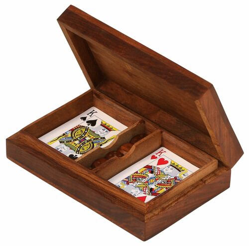 Double Card Game + Dice in Wooden Box with Brass Inlay. USA Seller!!!