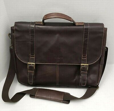 Samsonite Brown Leather Messenger Laptop Bag Shoulder Handbag Flapover Case Bag