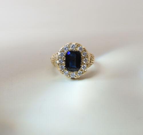 Antique 14K Yellow Gold .86 Carat Natural Peacock Sapphire & Diamond Halo Ring