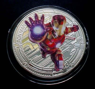 """NEW ZEALAND 2015 SILVER PLATE MARVEL THE AVENGERS """"IRONMAN"""" COIN"""
