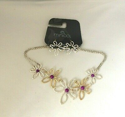Choker Two Tone Necklace (NK9307 DESIGNER INSPIRED TWO TONE FLOWER GEMSTONE CHOKER CHAIN NECKLACE )