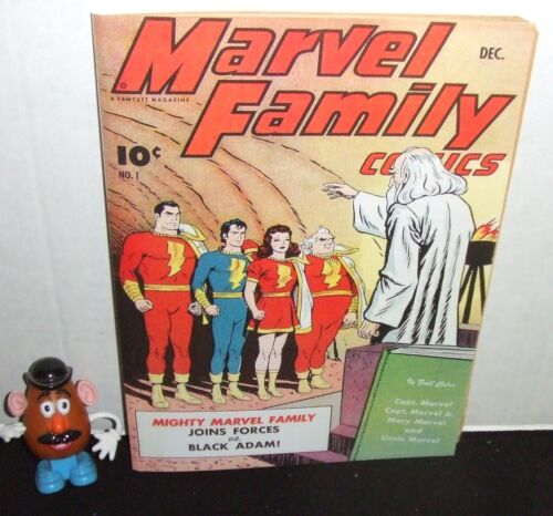 MARVEL FAMILY #1 FAWCETT 1945 CVRLESS 1ST APPEARANCE of BLACK ADAM + REPRO CVR