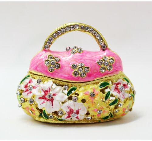 Bejeweled Enameled Floral Trinket Box/Figurine With Rhinestones-Flower Purse