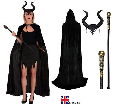 Womens Halloween EVIL WIZARD WITCH Long Black Cape Party Fancy Dress Costume UK ()