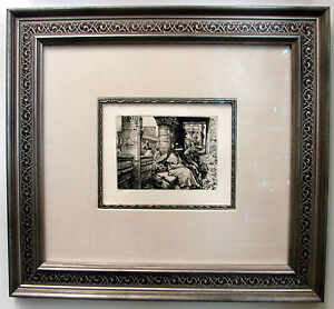James-Tissot-Vacation-in-India-Original-Etching-on-Laid-Cream-Paper-RARE-FRAM