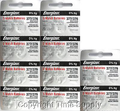 50 pc 377 / 376 Energizer Watch Batteries SR626SW SR626 0%HG