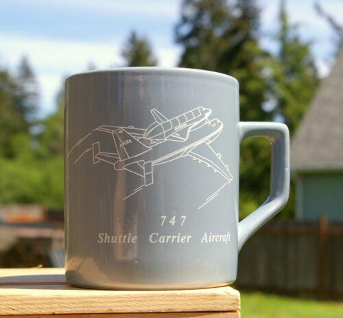 "747 Shuttle Carrier Aircraft NASA Boeing 3 5/8"" Tall Grey Coffee Mug"