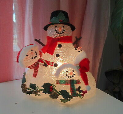 Vtg Frosted Snowman Family Lighted Figurine Table Lamp Christmas Decor in Box