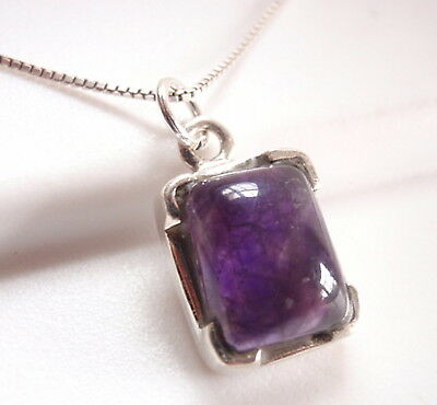 Amethyst Four-Pronged Rectangle 925 Sterling Silver Pendant Corona Sun