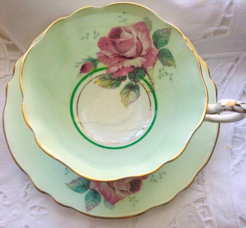 Paragon Cabbage Rose Tea Cup and Saucer Gold Trim  1930s