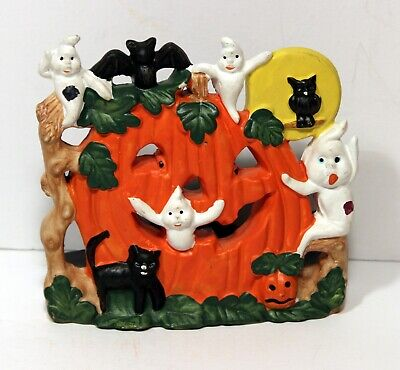 """Halloween Ceramic Candle Holder with Pumpkin, Ghosts, Bats and Cats (5""""x 5"""")"""
