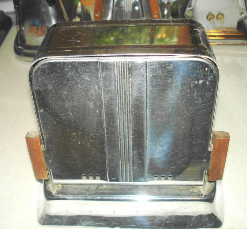 Antique Vintage ELECTRIC TOASTER - Unnamed Flip Side - Wood Handles