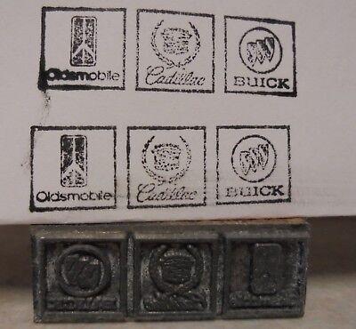 Vintage Buick Cadillac Oldsmobile Logo Printing Block Letterpress Gas Oil Cuts