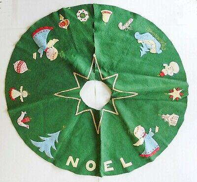 Vintage Mid Century Felt Handmade Christmas Tree Skirt Angels Snowman
