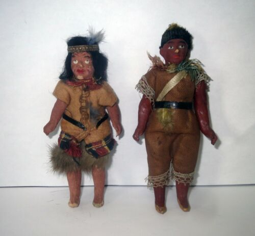 Antique 1800s Lot AMERICAN INDIAN TRADE - PAWN MINIATURE COMPOSITION DOLLS