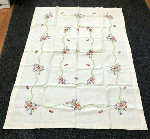 "Vintage Floral Hand Embroidered Linen Tablecloth - 66"" x 46"""