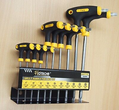 10PC T-Handle Torx Star Key Wrench Set 2 Drive Ends Stand Rack - Handle Torx Set