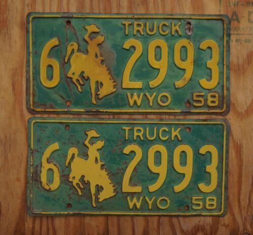 1958 Wyoming License Plate PAIR / SET # 6 - 2993