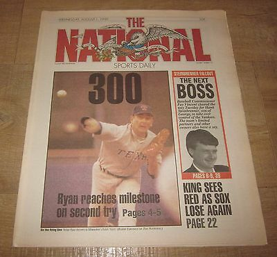 The National Sports Daily   Newspaper  Aug  1  1990 Nolan Ryan Wins 300 Rare