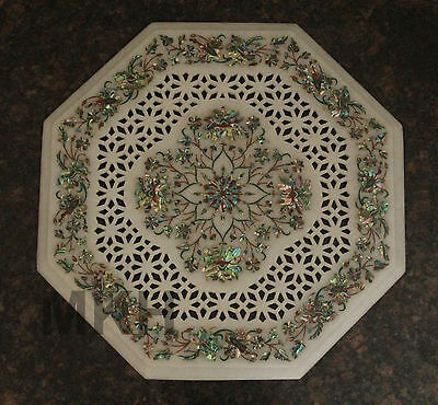 Abalone Shell Stone Used Beautiful PietraDura Marble Inlay Work Corner Table Top