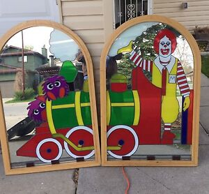 VINTAGE MCDONALDLAND stained glass mirror
