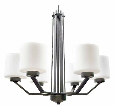 Contemporary Rubbed Bronze 6 Light Chandelier White Frosted Glass