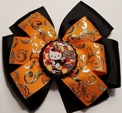Halloween Hello Kitty Inspired  Hair Bow Halloween Girls Hair Bow Clip Barrette
