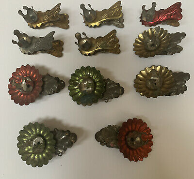 Lot 11 ANTIQUE VICTORIAN CHRISTMAS TREE CANDLE HOLDER CLIPS Colored Patina
