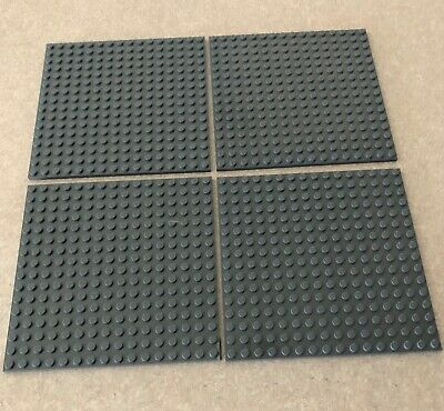 "LEGO Lot of 4 Base plates DARK BLUISH GRAY 16x16 dot 5""x5"" square base plate"