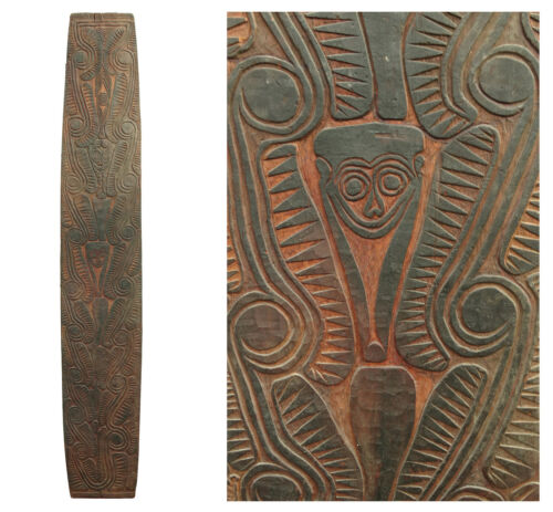 Large Papua New Guinea Sepik River Carved Wood Tribal Spirit Tiki Board