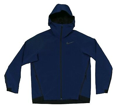 (Nike Therma Sphere Repel Winter Training Jacket Hoodie Fully Navy Blue Large)