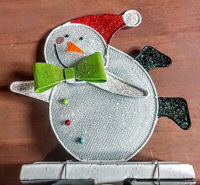 NWT Christmas Stocking Hanger - Sparkly Metal Mesh Snowman w/Santa Hat