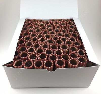 100 Preformed Penny Tubes Paper Coin Wrapper 1 Cent Pennies Counter Shotgun Roll