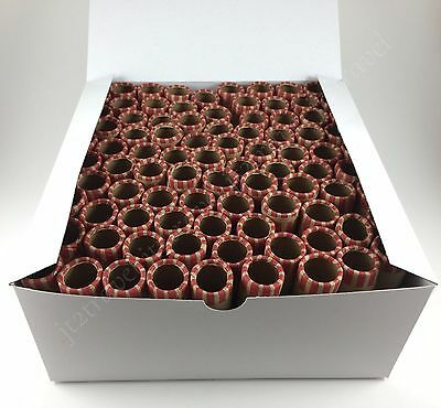 100 Preformed Penny Tubes Paper Coin Wrapper 1 Cent Pennies Counter Shotgun Roll - Paper Coin Tubes