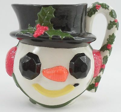 1960s Ceramic Frosty the Snowman Pitcher Coal Eyes Carrot Nose Holly Cane Handle