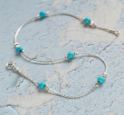 ANKLET blue TURQUOISE Solid 925 Sterling Silver Chain  Ankle Bracelet Made in UK